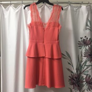 Pink Coral Leeann Lace-applique V- Neck Cocktail